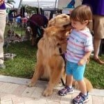 Mason the service dog kissing little boy