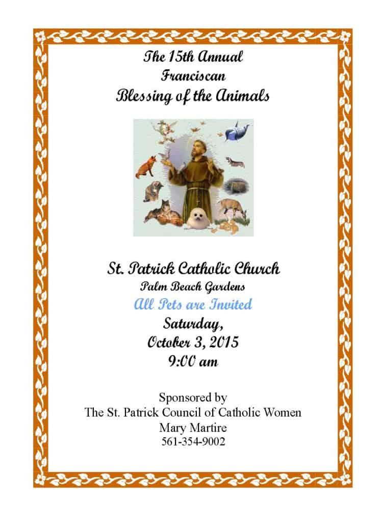 Blessing of the animals genesis assistance dogs for St patrick s church palm beach gardens